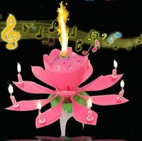 Wholesale Pink Scented Candles Offer Candle Lamp No Red Velas Decorativas Beautiful Birthday Gift Flower Music Lotus New Candles Petal for Party