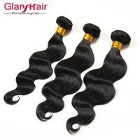 El pelo ondulado de la onda del cuerpo de los estilos de pelo de los estilos superiores vendedores 3pcs Extensiones sin procesar india 1B del pelo de Remy de la Virgen india peruana de Malasia brasileña