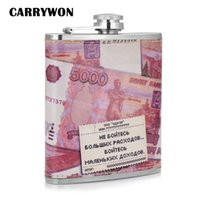 Wholesale CARRYWON Pink Dollar Paper Money Pattern Hip Flask Mini Travelling Outdoors Stainless Steel oz Wine Flask Gift For Gentleman