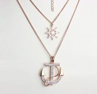 Running Shoes anchor chain pendant - 2016 Fashion Style Crystal Gold Double Sweater rhinestone Necklace Chain Anchor Sweater Necklaces Pendants GG09