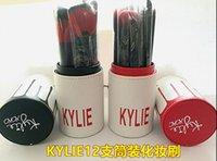 bb reds - New Kylie Makeup Brush Cosmetic Foundation BB Cream Powder Blush pieces Makeup Tools Black red Free DHL