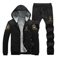 arrival worsted leisure - 2017 New Arrival Winter Youth Leisure Fashion Man s Tracksuits With Hoodies Plus Velvet Suit Jacket And Cashmere High Quantity Thickening