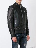 al por mayor la chaqueta de cuero de marca hombre delgado-Top Moda Europa Moda Desinger Faux cuero punk chaqueta marca PF32 capas de cuero de PU Slim Fit deportivo estilo hombres chaqueta M-3XL