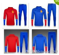 Wholesale Best quality Spain training suit Europe cup national team Spanish Football Sportswear Set skinny pants