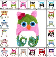 Boy Spring / Autumn Fedora Toddler Owl Crochet Knit Woolly EarFlap Hat Baby Handmade crochet Hat childrens handmade owl Knitted hat 15Color For Choose 0-2T