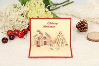 Wholesale 3D Christmas Warm House Greeting Cards Christmas Decorations Christmas Party Snowman Postcard Artificial Christmas Gifts For Friends Classm