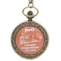 antique russian watches - Retro Vine Russian Train Station Locomotive Quartz Pocket Watch Analog Pendant Necklace Mens Womens Watches Chain Gift
