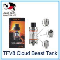 Wholesale SMOK TFV8 Cloud Beast Tank Thread ML With TFV8 T8 V8 Q4 V8 RBA Coil Head Top Refill System Smok Vape Mods