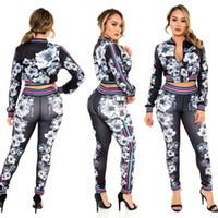 Wholesale 2016 European Trend Autumn Suit dress Printing Long Sleeve Twinset Black Edition