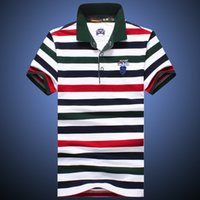 Wholesale Men s Shirts Tops Summer spring Style Breathable Cotton Tops Short Casual Striped Slim Contrast Color Polo Men Shirts