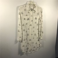 Wholesale garment factory EQUIPMENT silk dress small boat printing white color long sleeve double pockets shirts dresses