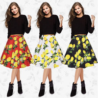 Wholesale 2017 Europe Station New Pattern High Quality Restore Ancient Ways Lemon Printing Half body Dress Short Skirt You Polyester