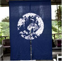 Wholesale Chinese Style Crane Pattern Door Curtain Household Cotton Blue Door Curtain Partition x120CM