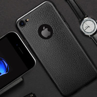 material estampado al por mayor-Lichee funda de cuero patrón para el iPhone 7 Plus Business estilo 4.7 5,5 pulgadas todo availbale con LOGO HOLE material flexible suave
