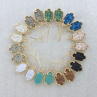 Wholesale Hot Selling Kendra Druzy Stone Earrings Geometric Color Gemstone Earrings Gold Plating Popular for Lady