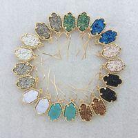 Wholesale Hot Selling Kendra Druzy Stone Earrings Geometric Color Gemstone Earrings Gold Plating Popular for Lady