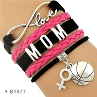 basketball mom - Pieces Infinity Love Basketball Mom Bracelet Fashion Wrap Bracelet Best Gift Black Hot Pink Custom Any Themes