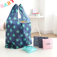 Wholesale Hot Unisex Women Star Dots Striped Reusable Portable Shopping Bag Grocery Handbags Tote Environmental Folding Holders Bags ZJ
