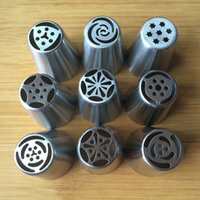 Wholesale set Big Size Russian Tulip Stainless Steel Icing Piping Nozzles Tip Russia Nozzl Stainless Pastry tools Dessert Decorators
