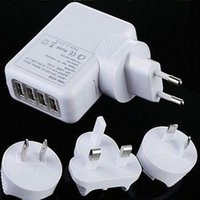 Wholesale AC wall charger with USB port and US EU UK AU changeable plugs standard USB V and max A output