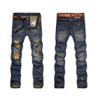 Wholesale Hole torn jeans men dark hole cowboy nostalgia pants