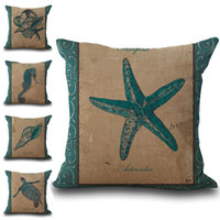 Wholesale Sea Horse Starfish Conch Turtle Throw Pillow Cases Cushion Cover Pillowcase Linen Cotton Square Pillow Case Pillowslip home decor