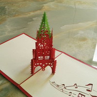 No art architectural - pieces D Architectural Perspective Bell Tower Travel Greeting Cards Handmade Paper Art Music Series Christmas Cards