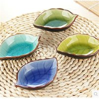 Wholesale Kitchen Bowl Kit Tool Ceramic fishLeaves Dishes dinnerware Spice Relish Plate For Tomato Sauce Salt Vinegar Sugar Flavor Spices tableware