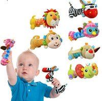 Wholesale Baby Sozzy Animals Rattles Animal Bells Rattles Plush Handbells Cute Rattles Toys Hand Puppet Kids Baby Soft Toys Rattle KKA1182