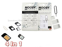 Wholesale 4 in Noosy Nano Sim Card Adapter Sets Micro Standard Sim Card Tools SIM Card Pin Android Iphone With Retail Box DHL