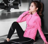 Wholesale Spring and autumn new women s fitness fitness jogging running suit sets of three piece long sleeved women s yoga clothes trousers