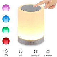 Wholesale Smart Bluetooth Touch LED Speaker Multifunctional MIC Handfree TF Card Player Changeable LED Color Light Lamp