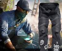 best ripped jeans - Watch Dogs Marcus Holloway Jeans Navy Blue Coat Costume Cosplay Game best gift high quality details
