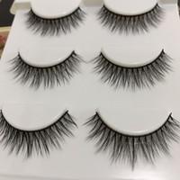 Nouveau multi-couche fil de coton noir 3D vison épais cils faux croix Messy faits à la main paillettes naturelles maquillage maquillage faux cils
