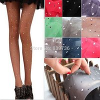 basic brown stock - Sexy Womens Thin Bling Pantyhose Tights Stockings ladies BASIC Stretch Crystal Rhinestone stocking Colors Hot Sell