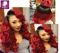 Cheap wavy Malaysian human hair full lace wig with baby hair bleached knots wet african american wigs 1b ombre red human wig in stock