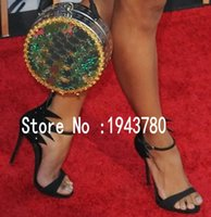 adhesive carpet cover - Red Carpet Evening Pumps for women Black Rhinestone Summer Gladiators Cover heel Leaf Open toe High heels Women Sandals Size
