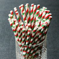 Wholesale Paper Straws Christmas Red Green Double Striped Drinking Straw For Christmas Party Birthday Decoration