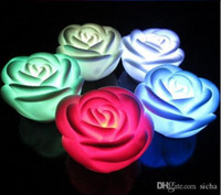 Wholesale red color LED Romantic Rose Flower Color changed Lamp Light
