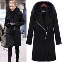 Wholesale Fashion XL Women Winter Coats High Imitation Fox Fur Collar Zipper Jackets New Style Woolen Coat Casacos Big Size H134