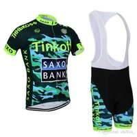 achat en gros de jersey cycliste militaire xl-Saxo Bank Summer Cycling Jersey Sets Best Army Green Tinkoff Team Vélos Suit Ropa Ciclismo Moisture-wicking Racing Vêtements Padded Bib Pants