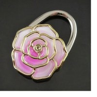 Wholesale 100pcs Portable Folding Rose Hang Bag Hook Bag Hanger Purse Holder Bag Locking Device gift WA1925
