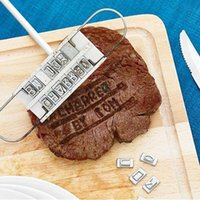 bbq baskets - BBQ Meat iron with Personality Steak Meat Barbecue BBQ Tool Changeable Letters hot selling JS0572