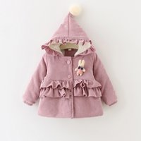 baby doll coats - Autumn winter new children coat baby girls cute bunny doll hooded coat kids corduroy thicken princess outwear children winter coat A0127