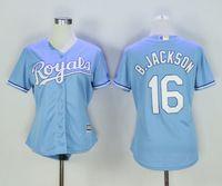 Femmes Kansas City Royales jersey 16 Bo Jackson 6 Lorenzo Cain 4 Alex Gordon filles dames à l'extérieur Maillots de base-ball Mix Ordre