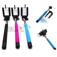 Monopied à pôle extensible Prix-Avec rainure Câble Take Pole Self Timer Kit Extendable Monopied Handheld Selfie Stick Rod Câble audio Câble Prenez Pole pour Iphone iOS Samsung