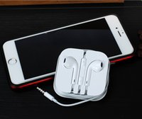 Wholesale Original Headset iPhone s plus Earphone ipad Headphone mm Handsfree with Mic Earphones iphone5s Earbuds with Retail Box
