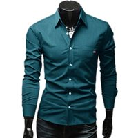 Wholesale New Brand Quality Color Ribbon Decor Fashion Mens Dress Shirts Slim Fit Long sleeve Casual Social Camisa Masculina M XXL