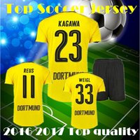 Wholesale 2016 Dortmund Home YELLOW Soccer Jerseys Kit Hot Soccer Uniforms REUS AUBAMEYANG KAGAWA Football Shirts and Shorts