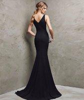 Vestidos de noche formales largos elegantes del V-Cuello del satén atractivo de Karin de la tolerancia Vestidos de noche formales largos elegantes del satén V-Cuello de Soiree